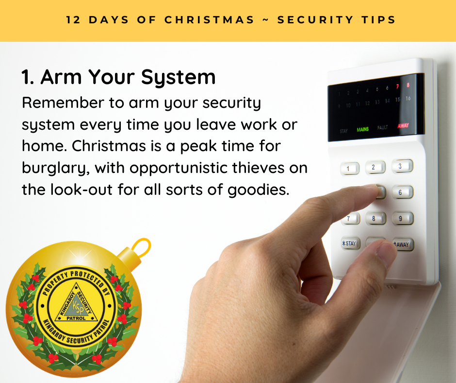 Arm Your System - Remember to arm your security system every time you leave work or home. Christmas is a peak time for burglary, with opportunistic thieves on the look-out for all sorts of goodies.